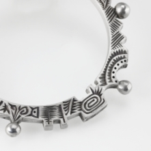 Carved PMC Pro Silver Alloy Clay bangle bracelet by Barbara Becker Simon