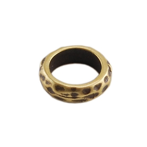 Bronze Plate Spacer - Hammered 7mm Pkg - 4