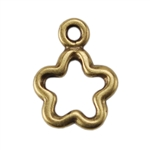 Bronze Plate Charm - Open Flower