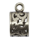 Bronze Plate Tube Bail with Ring - Filigree 9mm x 15.5mm Pkg - 1