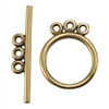 Bronze Plate Toggle Clasp - 3 Strand Circle