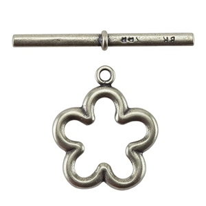 Bronze Plate Toggle Clasp - Flower