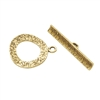 Bronze Plate Mini Toggle Clasp - Textured Ring