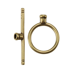 Bronze Plate Toggle Clasp - Round Thin Medium Crimp End