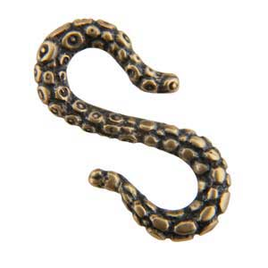 Bronze Plate S-Hook Clasp - Tentacle 12mm x 22mm Pkg - 1