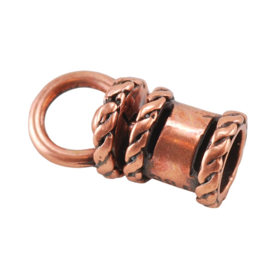 Copper plate end cap swivel fancy mm pkg
