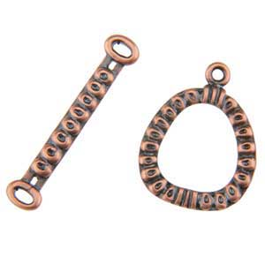 Copper Plate Toggle Clasp - Circle Frame