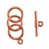 Copper Plate Mini Toggle Clasp - 3 Rings 9mm
