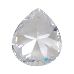 CZ: White Diamond - Pear 10mm x 12mm