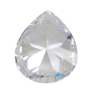 CZ: White Diamond - Pear 12mm x 14mm Pkg - 1