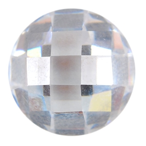 CZ: White Diamond - Cabochon Round 9mm - Checkerboard Top