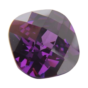 Cubic Zirconia - Amethyst - Cushion - Checkerboard 10mm Pkg - 1