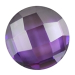 CZ: Amethyst - Cabochon Round 9mm - Checkerboard Top