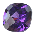 CZ: Amethyst - Cushion - Checkerboard 6mm