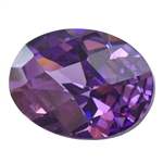 CZ: Amethyst - Oval - Checkerboard 4mm x 6mm