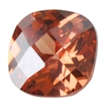 Cubic Zirconia - Smoked Topaz - Cushion - Checkerboard 14mm Pkg - 1