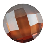 CZ: Smoked Topaz - Cabochon Round - Checkerboard 6mm Pkg - 2