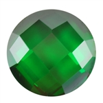 CZ: Columbian Emerald - Cabochon Round - Checkerboard 14mm