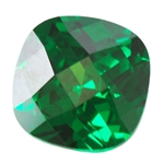CZ: Columbian Emerald - Cushion - Checkerboard 6mm