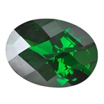 CZ: Columbian Emerald - Oval - Checkerboard 4mm x 6mm