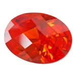 CZ: Fire Opal - Oval - Checkerboard 4mm x 6mm