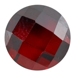 CZ: Hessonite Garnet - Cabochon Round - Checkerboard 8mm