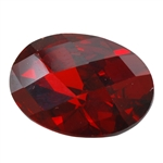 CZ: Hessonite Garnet - Oval - Checkerboard 10mm x 14mm