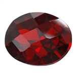 CZ: Hessonite Garnet - Oval - Checkerboard 12mm x 16mm