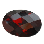 CZ: Hessonite Garnet - Oval - Checkerboard 13mm x 18mm