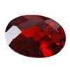 CZ: Hessonite Garnet - Oval - Checkerboard 5mm x 7mm