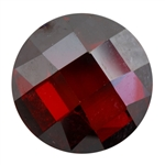 CZ: Hessonite Garnet - Cabochon Round - Checkerboard 10mm