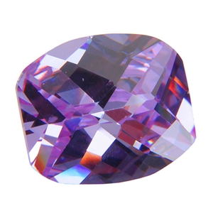 Cubic Zirconia - Lavender - Barrel - Checkerboard