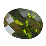 CZ: Olivine - Oval - Checkerboard 5mm x 7mm Pkg - 4