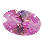 CZ: Pink Sapphire - Oval - Checkerboard 4mm x 6mm Pkg - 4