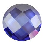 CZ: Tanzanite - Cabochon Round - Checkerboard 4mm Pkg - 4