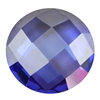 CZ: Tanzanite - Cabochon Round - Checkerboard 6mm Pkg - 2