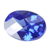 CZ: Tanzanite - Oval - Checkerboard 10mm x 14mm