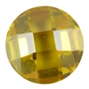 CZ: Yellow Diamond - Cabochon Round - Checkerboard 14mm