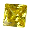 CZ: Yellow Diamond - Square 6mm Pkg - 2