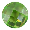 CZ: Green Apple - Cabochon Round - Checkerboard 12mm Pkg - 1