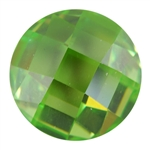 CZ: Green Apple - Cabochon Round - Checkerboard 14mm