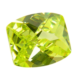 Cubic Zirconia - Green Apple - Barrel - Checkerboard 12mm x 14mm Pkg - 1