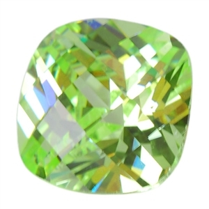 Cubic Zirconia - Green Apple - Cushion - Checkerboard