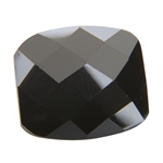 Cubic Zirconia - Jet Black - Barrel - Checkerboard 8mm x 10mm Pkg - 1
