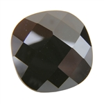 Cubic Zirconia - Jet Black - Cushion - Checkerboard 14mm Pkg - 1