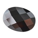 Cubic Zirconia - Jet Black - Oval - Checkerboard 13mm x 18mm Pkg - 1