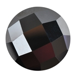 Cubic Zirconia - Jet Black - Cabochon Round - Checkerboard 6mm Pkg - 2