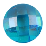CZ: Blue Topaz - Cabochon Round - Checkerboard 4mm