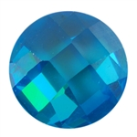CZ: Blue Topaz - Cabochon Round - Checkerboard 14mm