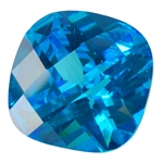 CZ: Blue Topaz - Cushion - Checkerboard 14mm